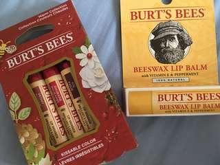 NEW Burts Bees Lip Shimmer and Lip Balm Bundle
