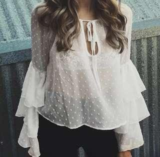 S to XL White Flutter Top