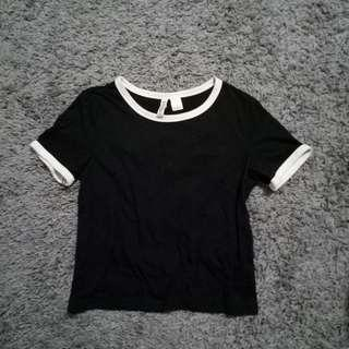 H&M Black and White Ringer Tee #SINGLE11