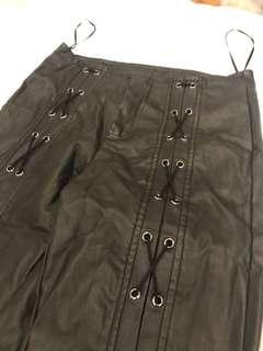 Fresh soul faux leather lace up pants