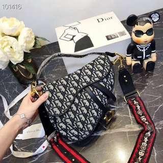 Authentic Quality Bag DIOR Saddle Bag in BLACK Oblique Print Handbag Sling Bag Christian Dior Collection Women's Bag BLACK