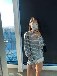 Topshop striped sweater with elbow cut-out