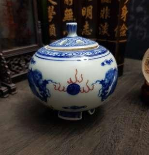 Blue and White UnderGlaze Red Small Jar