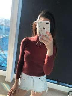 Sweater with keyhole ring