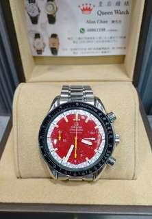 Omega Speedmaster 红面6針 膠面自動錶 淨錶