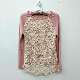 🚚 【EYESCREAM】粉色布蕾絲花紋長袖上衣