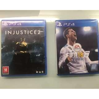 Selling Fifa18 and Injustice 2 (Used)