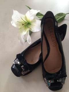 Staccato Black Velvet Shoes