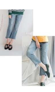 7/8 yuanclothing ripped jeans