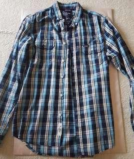 The Academy Brand Size Medium Blue Checkered Flannel Shirt
