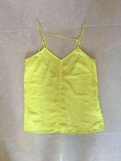 Yellow sleeveless crop top