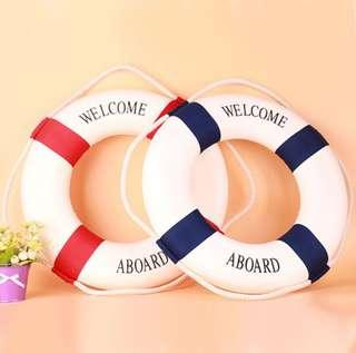 2 pc blue and red life buoy float nautical theme mediterranean sailor display item