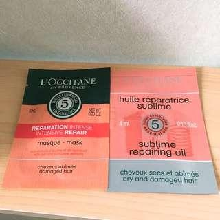 Loccitane masque & repairing oil Sample