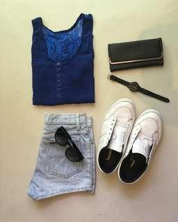 blue lace back top