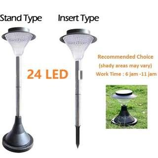 Solar Powered 12 24 Led Outdoor Wall/Lawn/Stand Light Waterproof 8 Hours