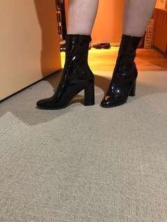 High heel latex boots