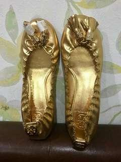 Kenzo Gold Flat Shoes AUTHENTIC