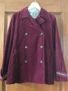 BNWOT TOMMY HILFIGER Maroon Corduoroy Double Breasted Pea Coat SgT Pepper Beatles-style 8-10 Designer
