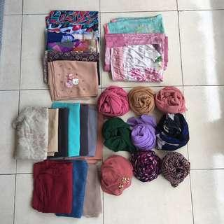 Assorted shawl, bawal, printed scarves