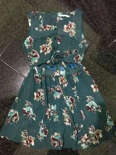Green Floral Dress with self tie top