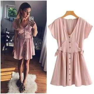 🌼Resell Price 400 💫botton mini.dress 💫Freesize Small up to M 💫1Color 💫linen cotton fabric *cc