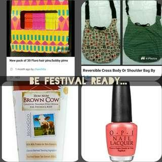 See my page for cheap festival accessories etc