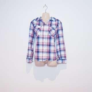 NOW - Size 14 - Pink Blue and White Plaid Flannel Shirt