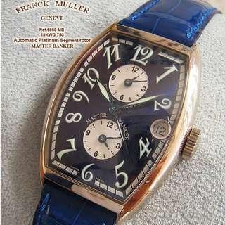 Franck Muller Master Banker Triple 18K 白金 Boxes Papers Blue Croco Strap. FM 18k白金 tang buckle