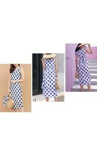 White polkadot blue dress with belt