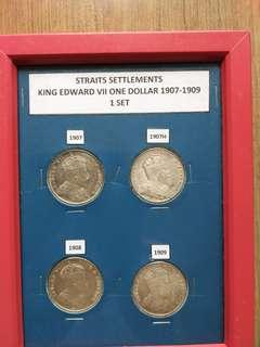 Straits Settlements King Edward  VII One Dollar 1907 to 1909 Set