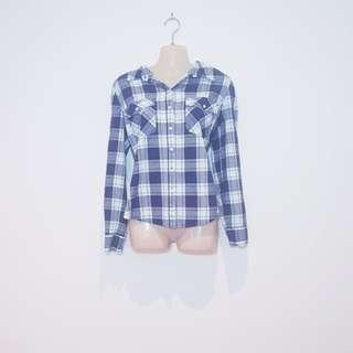 NOW - Size 14 - Blue and White Plaid Flannel Shirt