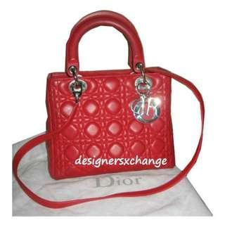 25c21a78923f Christian Dior Red Lambskin Lady Dior Silver Hardware Medium (with  detachable strap)