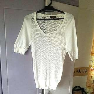 Island Shop White Knitted Top