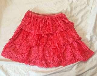 Zara Girls Casual Collection Neon Pink Lace Skirt 13/14