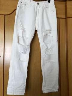 🚚 白色長破褲