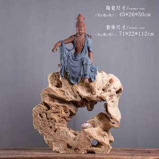 Guanying sculpture with old wood stand