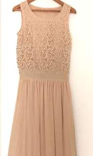 BNWT lacy beige sleeveless maxi drop waist dress