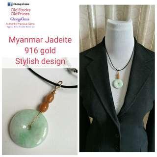916 gold leather necklace Myanmar Jadeite peace donut