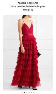 Needle & Thread red evening dress / gown 紅色晚裝裙