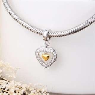 (OUT OF STOCK) Code MS10 - Double Heart Love Dangle 100% 925 Sterling Silver Charm, Chain Is Not Included