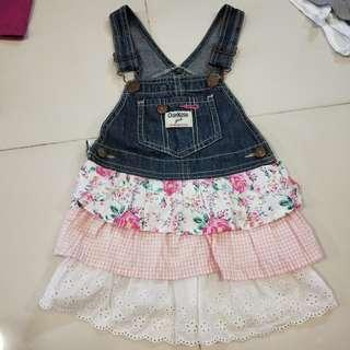 Osh kosh denim Girl's Dress with lace n flower print.