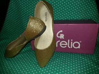 Gold Glittery Flat Shoes