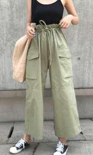 BNWT *BLACK* paper bag drawstring cargo wide leg pants