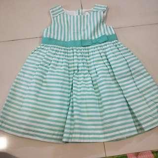 Carters girl Dress green n white stripes