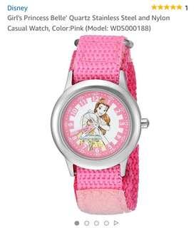 Disney Girl's Princess Belle' Quartz Stainless Steel and Nylon Casual Watch, Color:Pink (Model: WDS000188)