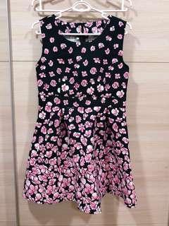 Black Pink Foral Dress