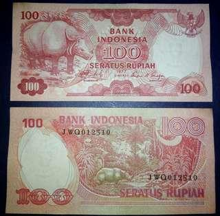 Uang 100rupiah badak gress mulus
