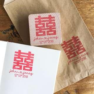 🚚 Double happiness stamp save the date wedding stationery invites envelops