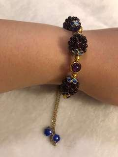 石榴石加紫水晶人手編織設計款彈性手串(特價促銷)