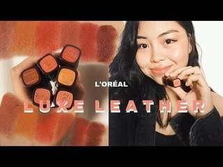 L'Oréal loreal limited edition luxe leather matte satin color Riche lipstick 💄 🍷🍁秋冬色棕色皮革絲絨唇膏 640 642